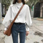 【tops】キャンパス韓国ファッションスタンドネックシャツ25603950