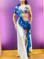 エジプト製ベリーダンス衣装 薄い水色&ブルー