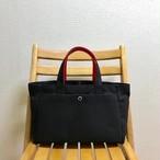 「ボックストート」横長サイズ 「ブラック(黒)×赤」帆布トートバッグ 倉敷帆布8号