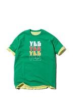 "Reversible Tshirt ""YES NO"" / green×yellow"