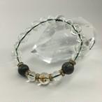 【パワーストーン】5月誕生石【肉球水晶】入りエメラルドブレスレット・ゴールド(16cm)B041