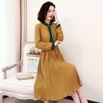 【dress】デートワンピース女子力アップリボン飾りハイウェストワンピース