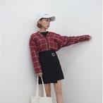 【新作10%off】fall plaid v neck blouse 2850