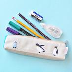 新商品《鳥/ペンギン》 ペンケース ペンギン親子 ポーチ ハンドメイド 手刺繍