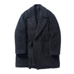 Name. 【ネーム】 SHAGGY WOOL/MOHAIR WRAP COAT (NAVY)
