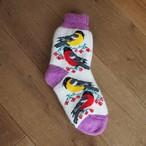 【ロシア】 厚手靴下 (紫 トリ) 24-25cm くつした くつ下 ウール