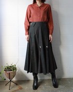 black concho denim flare skirt