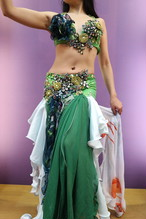 エジプト製 ベリーダンス衣装 グリーン