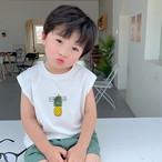 送料無料♡韓国輸入服 パイナップル プリント 半袖 Tシャツ 2色 サイズ80~130