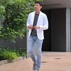クルーネックTシャツ ワッフルボーダー 涼感素材 ジャガード織り 【E】485-423
