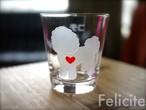 ビションフリーゼ彫刻グラス(ハート&クローバー)
