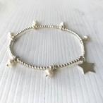 Shake my heart  bracelet  / pearl&star / silver