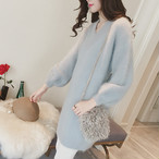 【dress】Puff solid color knitted dress