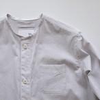 no collar long shirts / オフ×グレイ コードレーン / cotton 100%