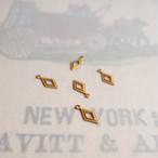 ヴィンテージ 真鍮のダイヤ型チャーム (8コ)