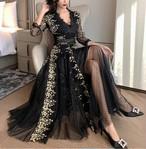 2色 elegant レース フレア ロングドレス フローラル Vネック ハイウエスト トレンド エレガント きれいめ フェミニン パーティー お呼ばれ 二次会 結婚式 食事会 6437