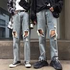 【bottoms】ファッションストリート系ダメージ無地デニムパンツ