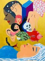 【8/29-9/8期間限定!菊沢将憲最初期絵画展作品】  夢を見る  220mm×270mm   キャンバス 額縁なし