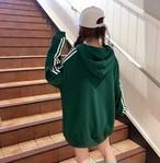 パーカー パーカーワンピフード付き ジャージ風 スポーティー あったか 厚手  M〜2XL 大きいサイズ ビッグシルエット グリーン 緑
