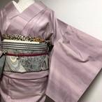 【イイ女系】紬 横段ぼかし 薄ピンク~紫系 絶妙カラー 袷 正絹 丈160裄66