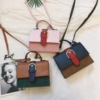 【小物】バッグレトロ切り替えハンドバック斜め掛け配色ファッション