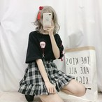 【tops】ファッション配色ラウンドネックTシャツ19156735