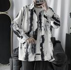 メンズ 総柄シャツ 韓国系 長袖 シャツ 柄 オーバーサイズ 人気 送料無料