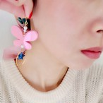【ca-co☆accessories】 バタフライ片耳ピアス ピンク(14kgf)
