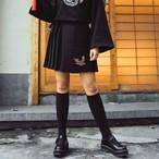 チャイナ風ボトムス スカート 改良唐装 女子会 中華服 M ブラック 混紡 個性的 刺繍 プリーツスカート