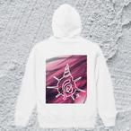 D-LogoスタンダードWフードパーカーホワイト【オリジナルデザイン】ストリート×かわいい/重ね着も/ユニセックスパーカー