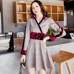 【dress】ベルベット切り替えチェック柄配色デートワンピース
