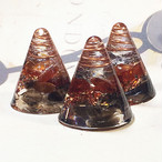 ミニ円錐型 スモーキークォーツ&オレンジガーネットオルゴナイト 3個セット