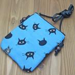 【一期一会】和柄猫ショルダーバッグ(猫顔・ブルー)Mサイズ【猫柄】
