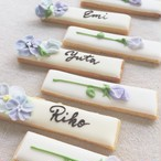 Cookie Bars - flower - 席札アイシングクッキー(10本単位でご購入ください@464)