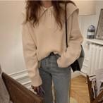 襟付き シンプル セーター ニット トップス 2色 B2657