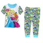 キッズパジャマ 半袖 長ズボン アナと雪の女王 上下セット (ブルー&ホワイト)