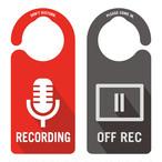 【新形状】RECODING(レコーディング中)裏面OFF REC[1055] 【全国送料無料】 ドアサイン ドアノブプレート