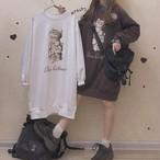 ワンピース 長袖 プリント キャット 猫 ミディアム丈 ゆったり 韓国ファッション オルチャンファッション