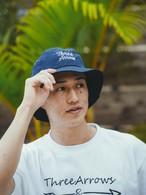 【6/2(WED)20:00 販売開始】ThreeArrows 刺繍 Nylon Bucket Hat (navy)