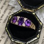 イギリス ヴィンテージリング 9ct アメシスト ダイヤモンド