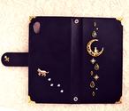 手帳型スマホケース『猫と月のロマンティック』-Blackcat-  選べるイニシャル 耐水素材