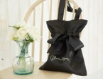 Satin ribbon tote bag(black)