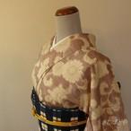 正絹紬 小豆色と白の唐花小紋 単衣