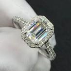 モアサナイト エメラルドカット  ダイヤモンド 1.5カラット プラチナ リング 指輪