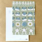 文様葉書(絵葉書)/ポストカード:雨蛙(あまがえる)文様