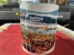 No.2020-summer-mug004  : マグカップ コーギーのサーフィン大会、波型デザイン