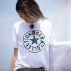 SENA プリント半袖Tシャツ(ホワイト×グリーン)