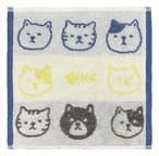 【猫柄】ジャガードハンカチタオル(ブルー)【猫雑貨】