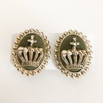 khaki crown earring[e-1023]