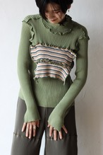 【kotohayokozawa】rib knit high neck stripe-green